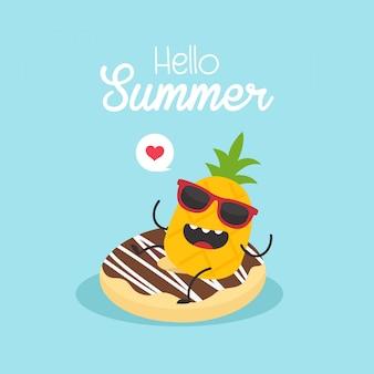 In den sommerferien aufblasbarer donut mit einer ananas in einem swimmingpool