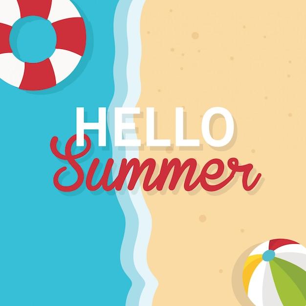 In den sommerferien hallo draufsicht der sommerillustration des strandes und des meeres