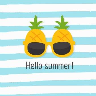 In den sommerferien hallo sommer, ananas-sonnenbrille
