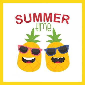 In den sommerferien niedliche ananaspaar-cartoonillustration für sommerferien