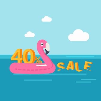 In den sommerferien, sommerschlussverkauf banner rabatt von 40 prozent. schwimmreifen. flamingo