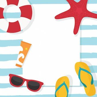 In den sommerferien sommerschlussverkaufhintergrund mit sonnenbrillen, rettungsring und elementen. exemplar