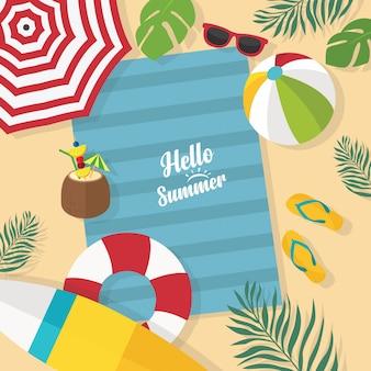 In den sommerferien strandhintergrund mit palmblatt, regenschirmen, bällen, schwimmring