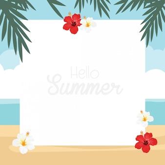 In den sommerferien tropische naturdesignkarte