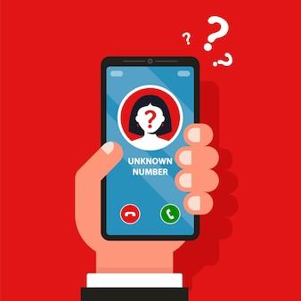 In der abbildung des telefons klingelt eine unbekannte handynummer