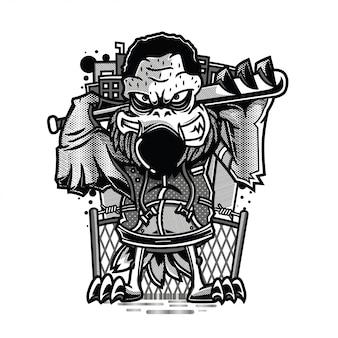 In der haube schwarz-weiß-illustration