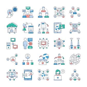 In der heutigen zeit dreht sich alles um schnelle kommunikation. wir hoffen, dass diese werbe- und kommunikationsvektoren für ihren stapel von symbolen von großem wert sind.