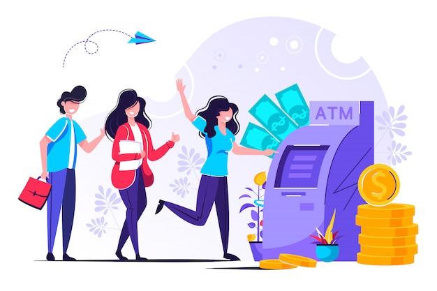 In der nähe des geldautomaten stehen leute in der schlange