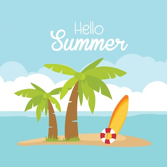 In der sommerferienkarte surfbrettball-palmestrand