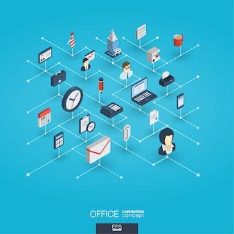 In die büroarbeit integrierte 3d-web-symbole. isometrisches interaktionskonzept für digitale netzwerke.
