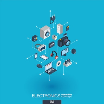 In die elektronik integrierte web-symbole. isometrisches interaktionskonzept für digitale netzwerke. verbundenes grafisches punkt- und liniensystem. abstrakter hintergrund für technologie, haushaltsgeräte. infograph