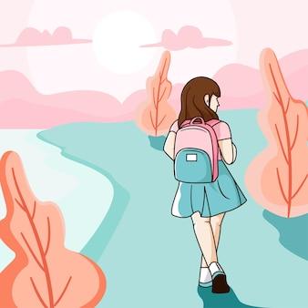 In die schule und am strand vorbei