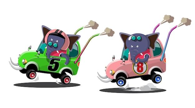 In einem geschwindigkeitsrennspiel-wettbewerb benutzte der elefantenfahrer-spieler ein hochgeschwindigkeitsauto, um im rennspiel zu gewinnen