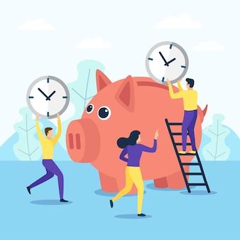 In einem großen sparschwein sparen menschen zeit. im flachen designstil.
