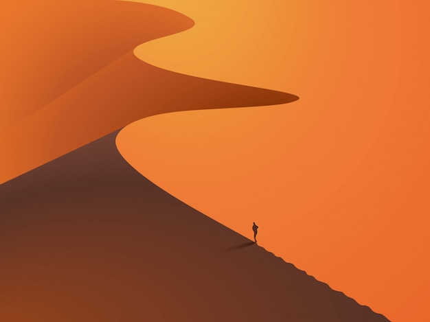 In einer wüste dünen mit einem mann im vordergrund