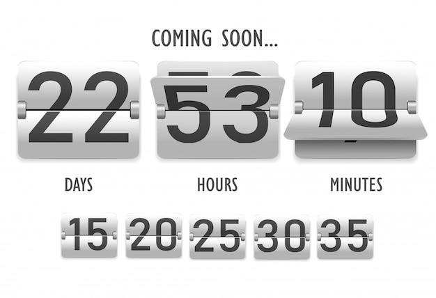 In kürze erhältlich, countdown, ziffern im stil einer mechanischen anzeigetafel, ziffer