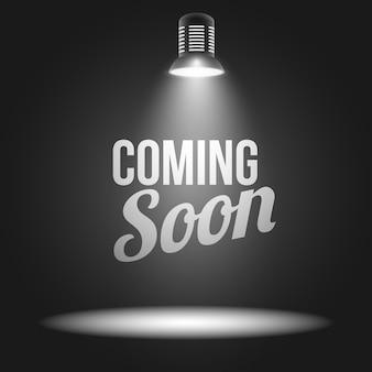In Kürze Nachricht mit Lichtprojektor beleuchtet