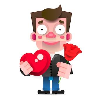 In love guy mit einer roten rose und einer schachtel pralinen