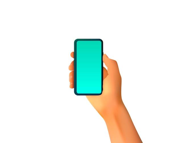 In meiner hand liegt ein smartphone, mobiler bildschirm, weißer hintergrund.