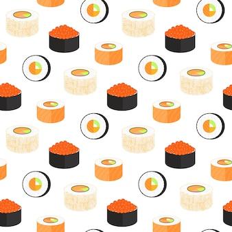 In nori eingewickelte kalifornische brötchen. philadelphia mit kaviar von fliegenden fischen. nahtloses muster der traditionellen japanischen küche