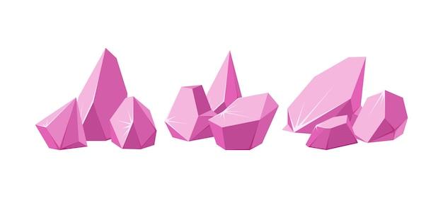 In stücke gebrochene kristalle set aus zertrümmerten rosa kristallen zerbrochene edelsteine oder rosa felsen