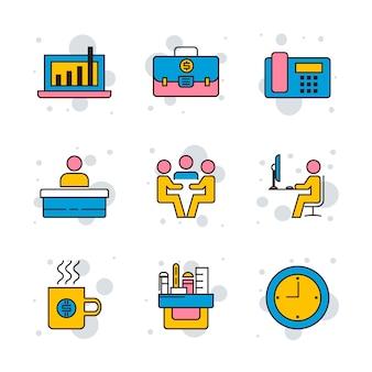 In verbindung stehende linie ikonen des büros stellen sie illustration ein