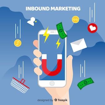 Inbound-marketinghintergrund des handys