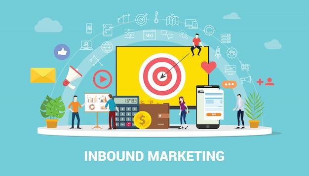 Inbound-marketingkonzept-strategieteam, das zusammenarbeitet