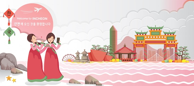 Incheon ist das wahrzeichen der koreanischen reise. koreanisches reiseplakat und postkarte. willkommen in incheon.