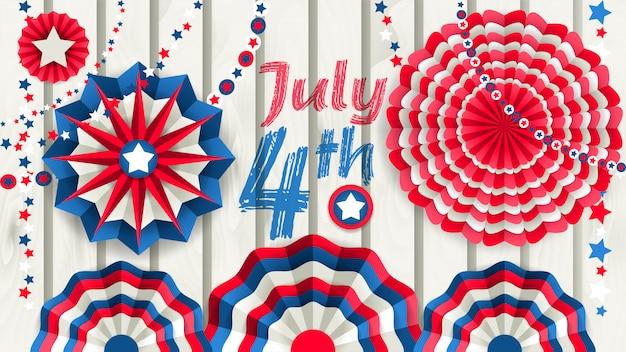 Independence day banner mit hängenden runden papierfans
