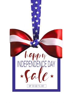 Independence day sale banner mit bogen und amerikanische flagge farben