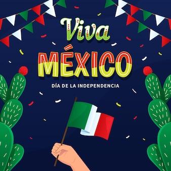 Independencia de méxico mit flagge und kaktus