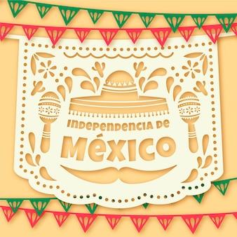 Independencia de méxico mit girlanden und maracas