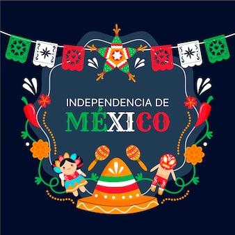 Independencia de méxico mit hut und girlande