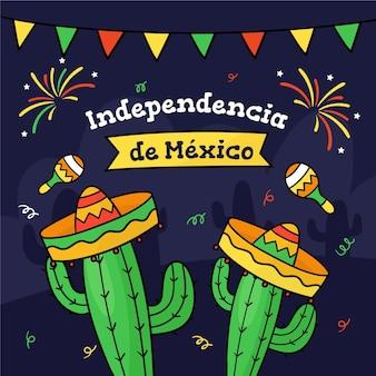 Independencia de méxico mit kaktus und hüten