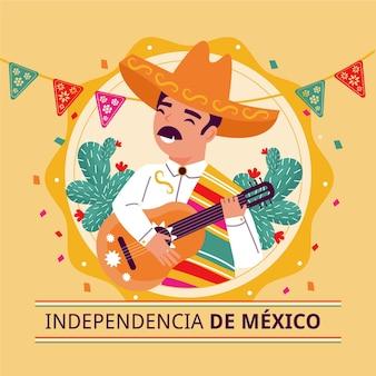 Independencia de méxico mit mann, der gitarre spielt
