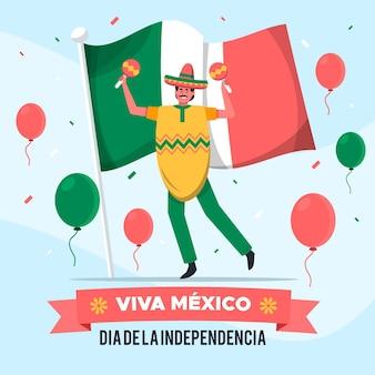 Independencia de méxico mit mann mit maracas