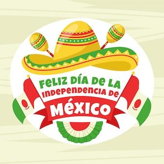Independencia de méxico mit maracas und hut