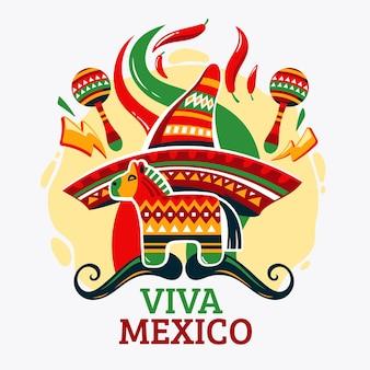 Independencia de méxico mit maracas und pinata