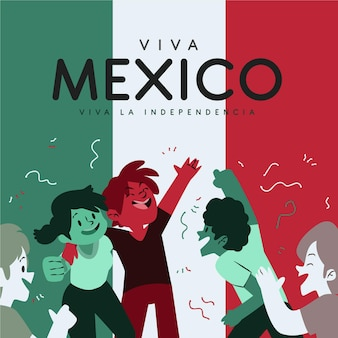 Independencia de méxico mit menschen und flagge