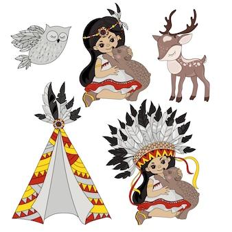 Indianer prinzessin haustiere