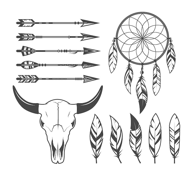 Indianer-, stammes-, jägerobjekte