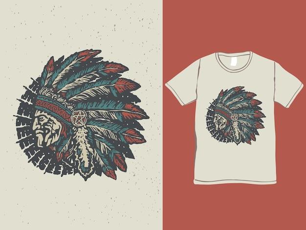 Indianerhäuptling kopf-t-shirt-design der amerikanischen ureinwohner