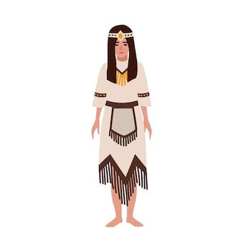 Indianerin in nationaler ethnischer kleidung oder traditioneller stammestracht, die mit fransen verziert ist. aborigines oder indigene völker amerikas. weibliche zeichentrickfigur. flache vektorillustration.