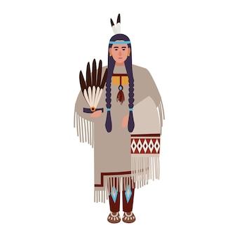 Indianerin mit zöpfen oder squaw, die ethnische stammeskleidung trägt. indigene völker amerikas. weibliche zeichentrickfigur isoliert auf weißem hintergrund. bunte flache vektorillustration.