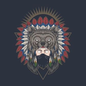Indianische frau der amerikanischen ureinwohner, die eine maskenvektorillustration trägt