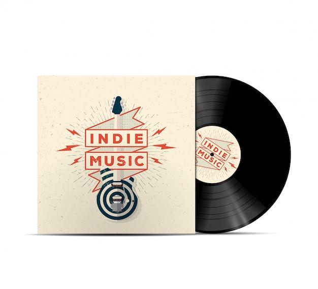 Indie music vinyl disc cover mockup. cover für ihre musikwiedergabeliste. realistische illustration.