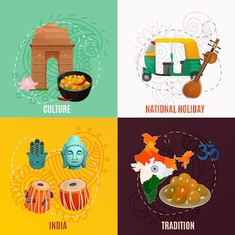 Indien 2x2 design-konzept