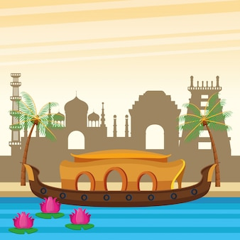 Indien-boot in der flusslandschaftskarikatur