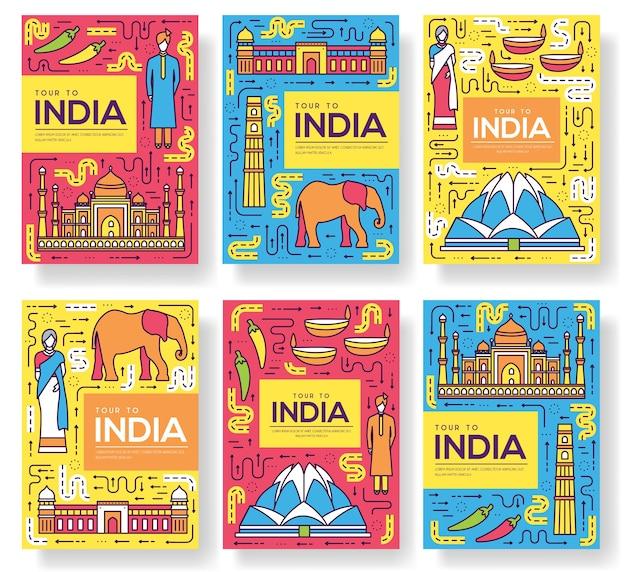 Indien broschüre karten dünne linie gesetzt. landreisevorlage von flyear, zeitschriften, plakaten.